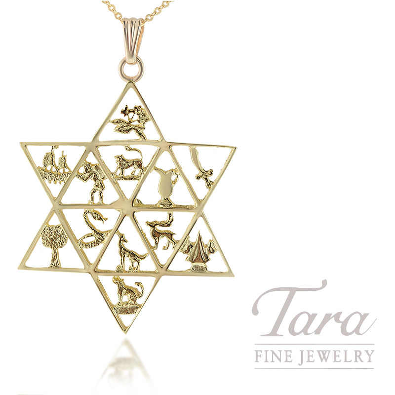 14K Yellow Gold 4.0G Star of David/12 Tribes