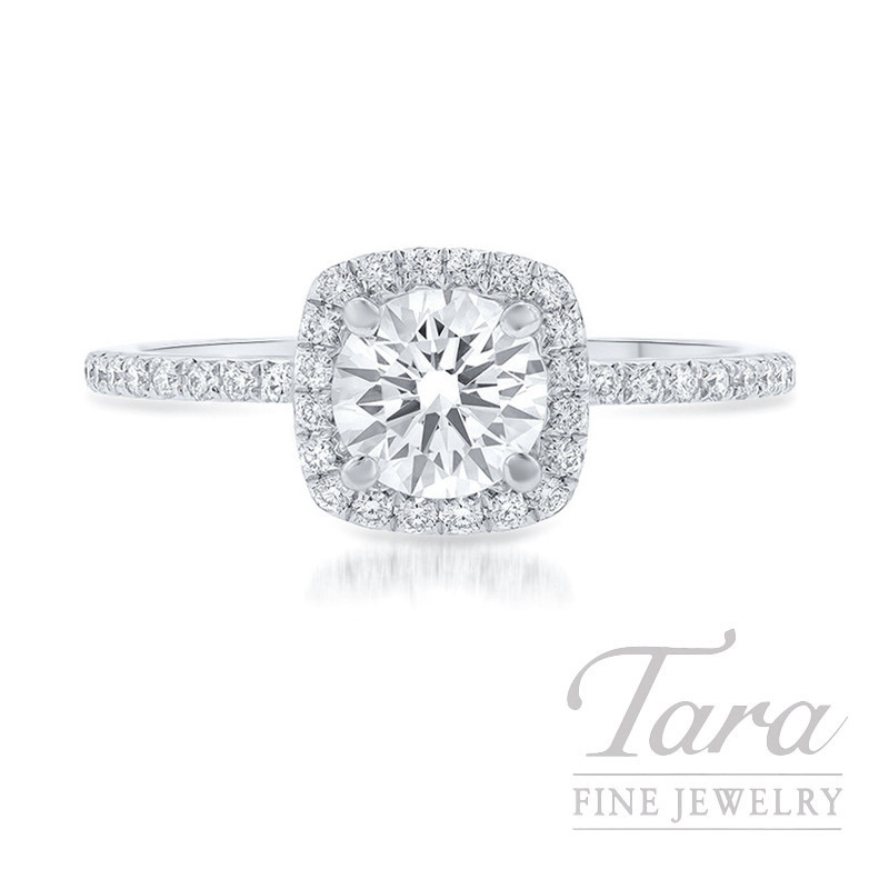 14k White Gold Diamond Halo Engagement Ring, .29CT Round Diamond, 2.0G, .20TDW
