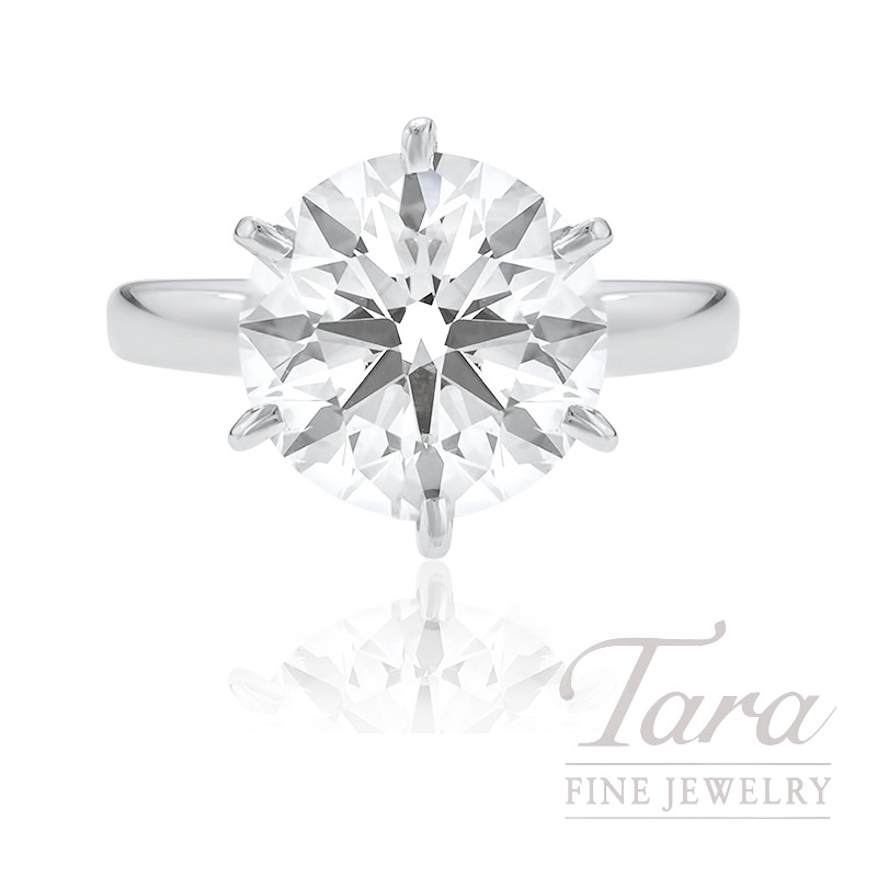 18k White Gold Diamond Solitaire Engagement Ring, 5.03CT Round Brilliant Center Diamond