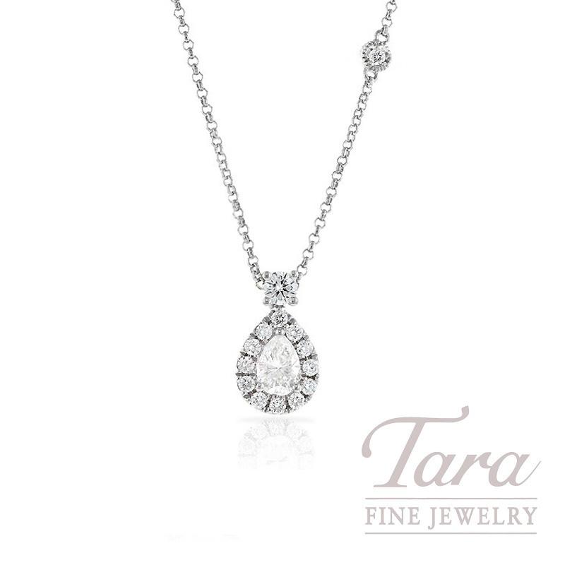 18K White Gold Pear Diamond Halo Pendant, 3.3g, .30CT Pear Diamond, .37TDW Round Diamonds