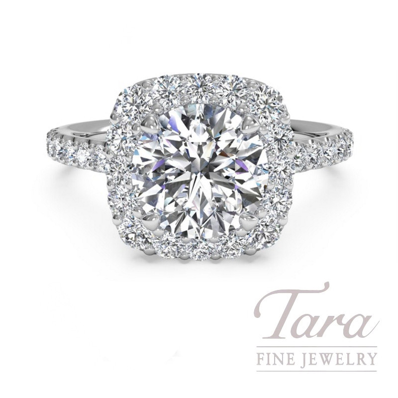 Ritani 18k White Gold Diamond Halo Engagement Ring, 3.5G, .41TDW (Center Stone Sold Separately)