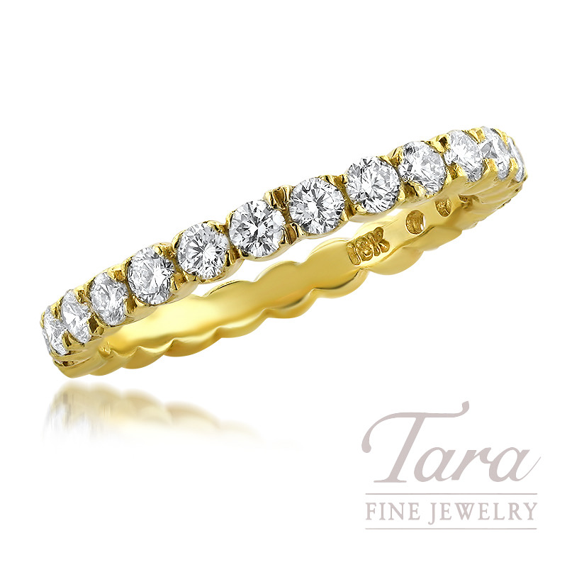 18K Yellow Gold Diamond Band 17 Round Diamonds, 0.77TDW