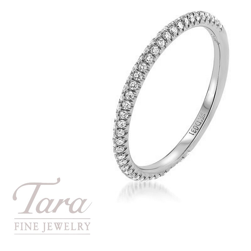 18K White Gold Pave Diamond Band, .25TDW