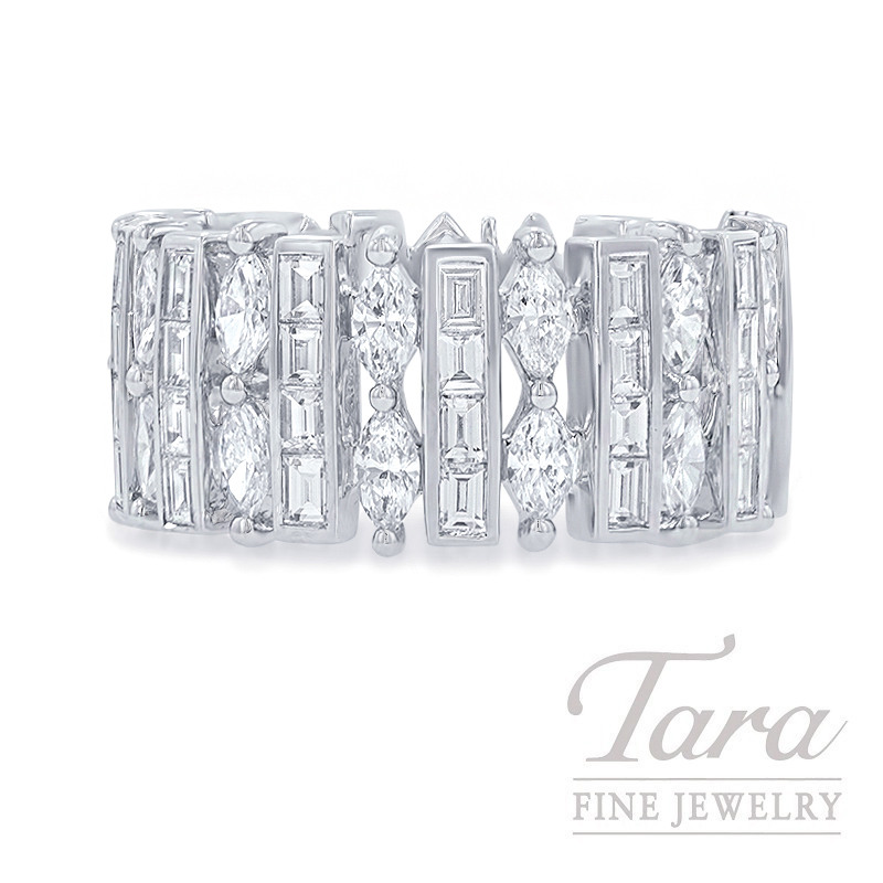 18K White Gold Marquise & Baguette Diamond Fashion Band, 7.7G, 1.97TDW