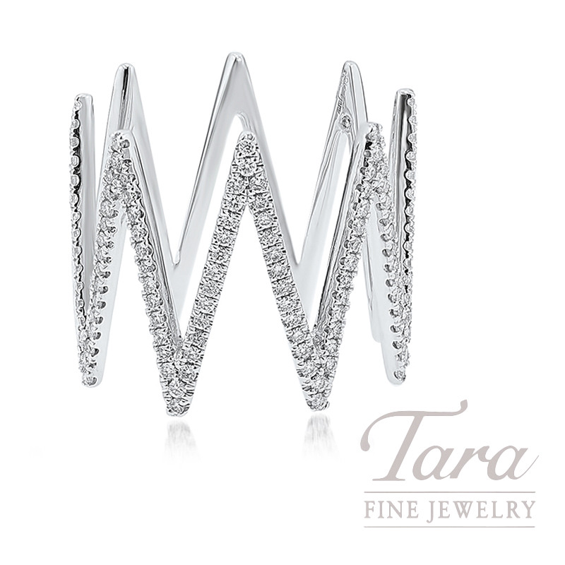 18K White Gold Zig-Zag Diamond Ring, 4.0G, .42TDW