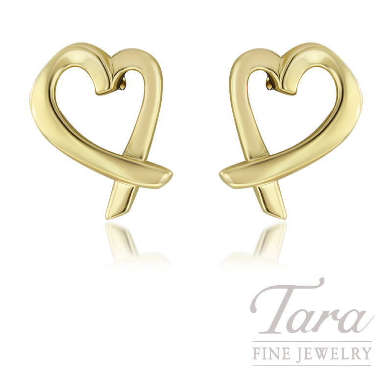 18K Yellow Gold Paloma Picasso Heart Shaped Earrings 2G