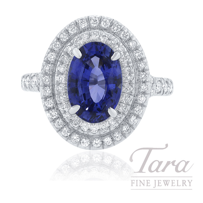 18K White Gold Blue Sapphire and Diamond Double Halo Engagement Ring, 2.63CT Blue Sapphire, 7.8G, .57TDW