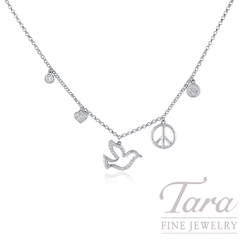 18K White Gold Heart, Dove, and Peace Sign Diamond Necklace, .15TDW