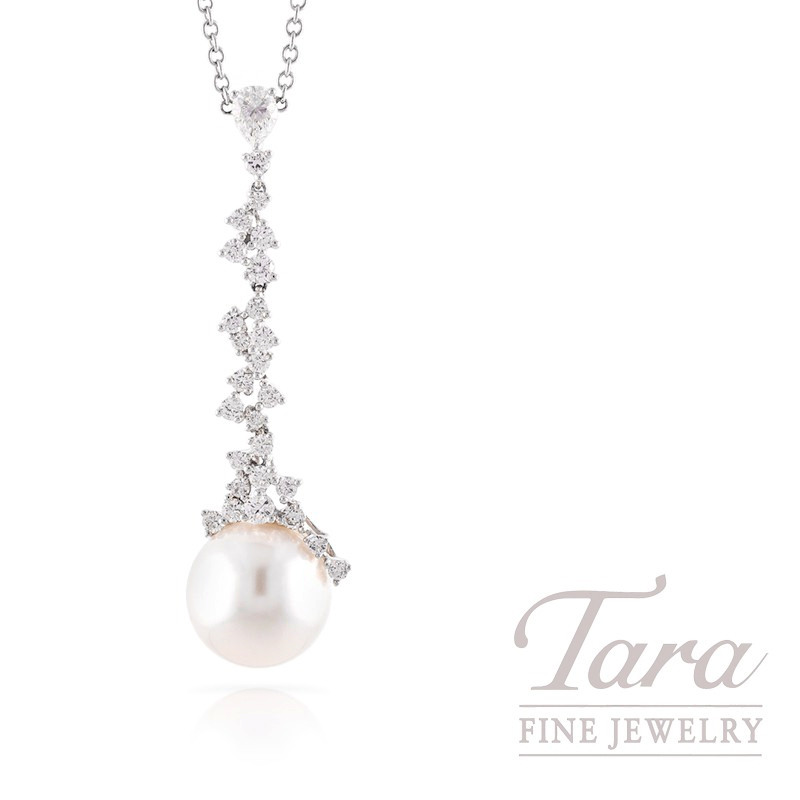 18k White Gold South Sea Pearl and Diamond Pendant with Chain, 5.5G, 1.05TDW