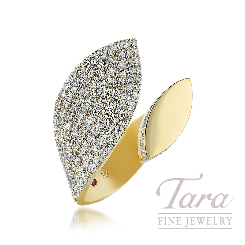 18K Yellow Gold and Diamond Roberto Coin Petal Ring, 1.85TDW
