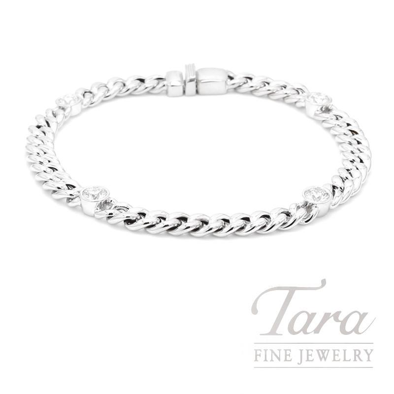 Norman Covan 18K White Gold Bracelet With 4 Round Diamonds 1.20CTDW 11.2 Grams