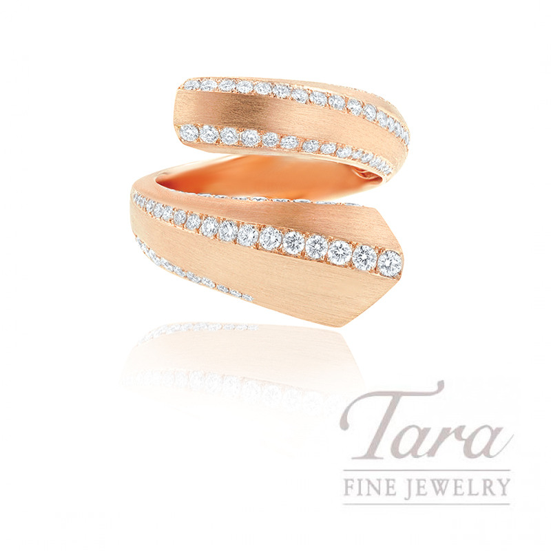 18K Rose Gold Diamond Wrap Ring, 8.1G, 1.37TDW