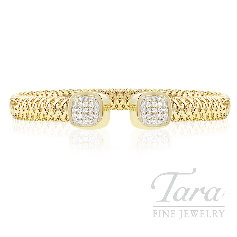 Roberto Coin 18k Yellow Gold  Primavera Pave Diamond Flex Bracelet, .50TDW