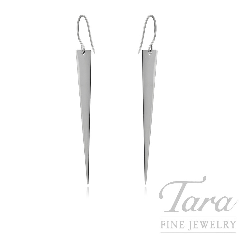 14K White Gold Fancy Dangling Earrings, 2.6G