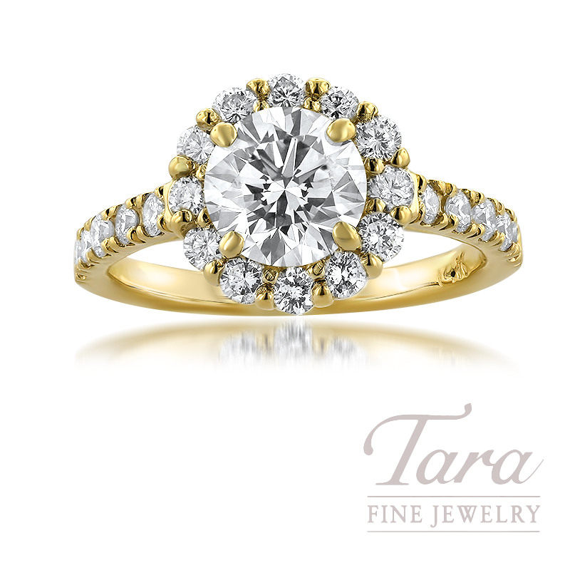 14K Yellow Gold Diamond Halo Engagement Ring; 22 Round Diamonds (Center Stone Sold Separately)