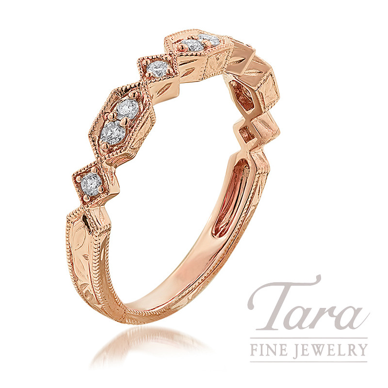 18K Rose Gold Diamond Stackable Band, 2.6G, .20TDW