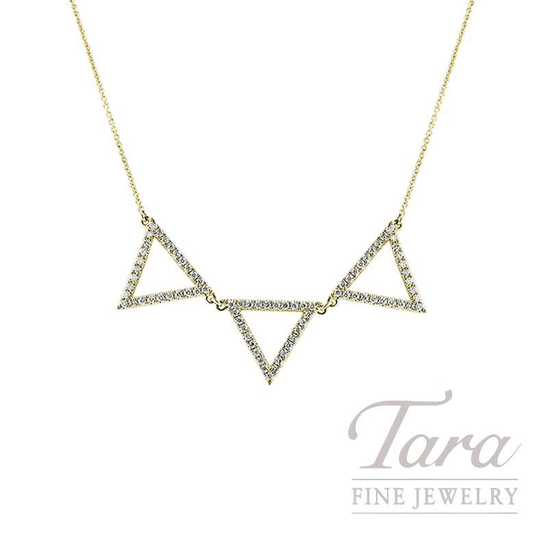 "18K Yellow Gold Diamond Triangle Necklace, 16/18"" Chain, 4.6G, .52TDW"