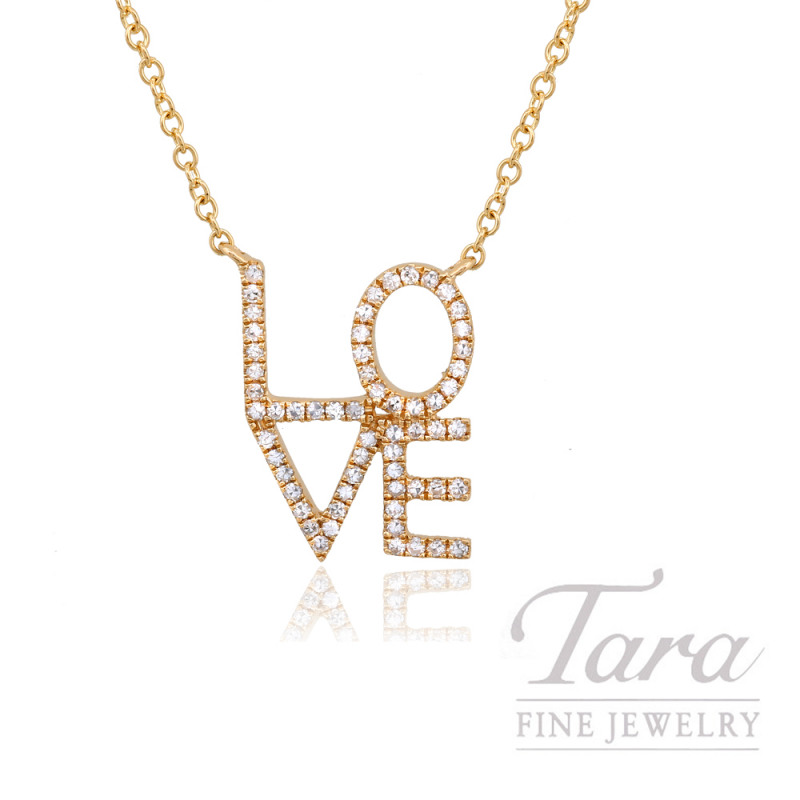 "14k Yellow Gold Stacked ""LOVE"" Diamond Necklace, 16/18"" Chain, .15TDW"