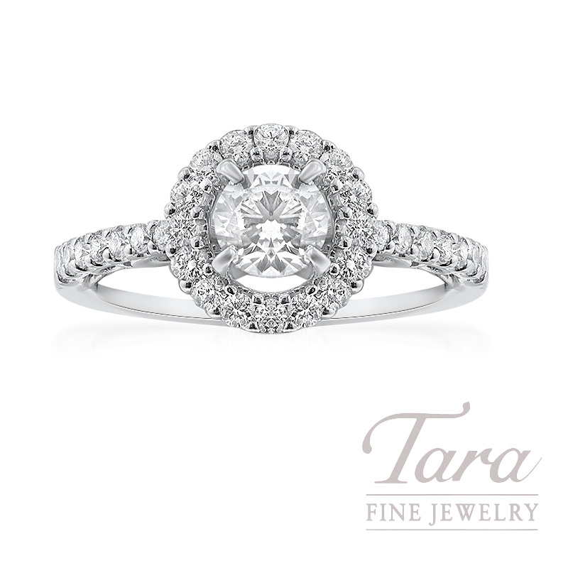 14K White Gold Halo Diamond Engagement Ring, .49CT Center Diamond, 2.9G, .40TDW
