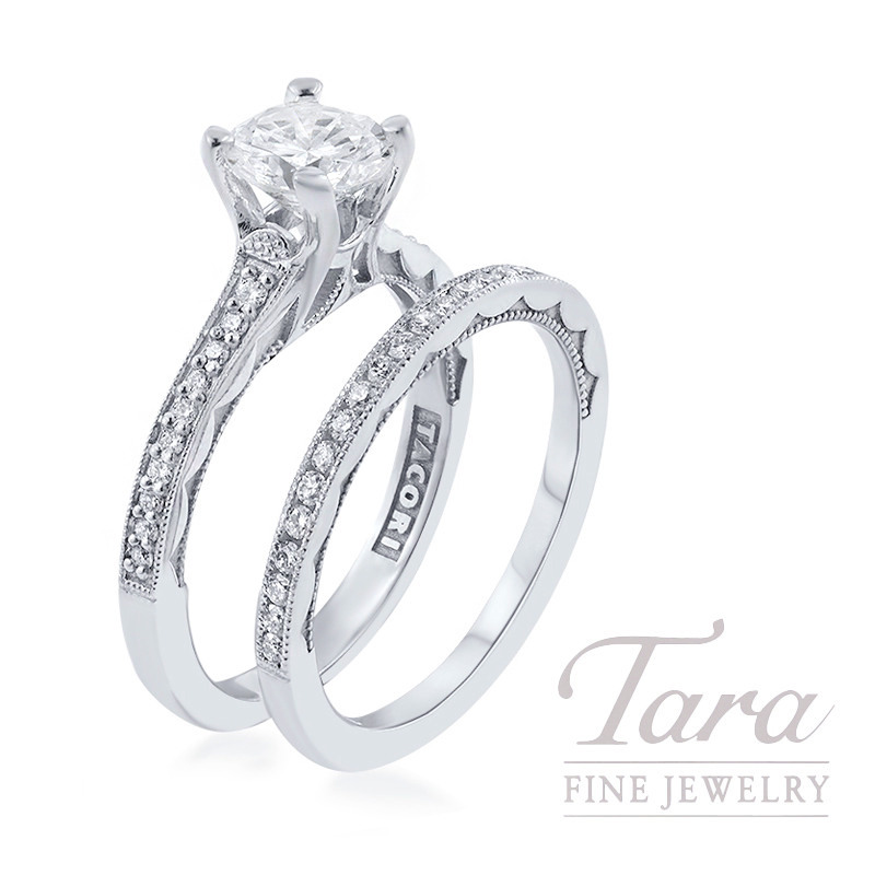 Tacori 18k White Gold Diamond Wedding Set, 1.20CT Round Diamond, .31TDW