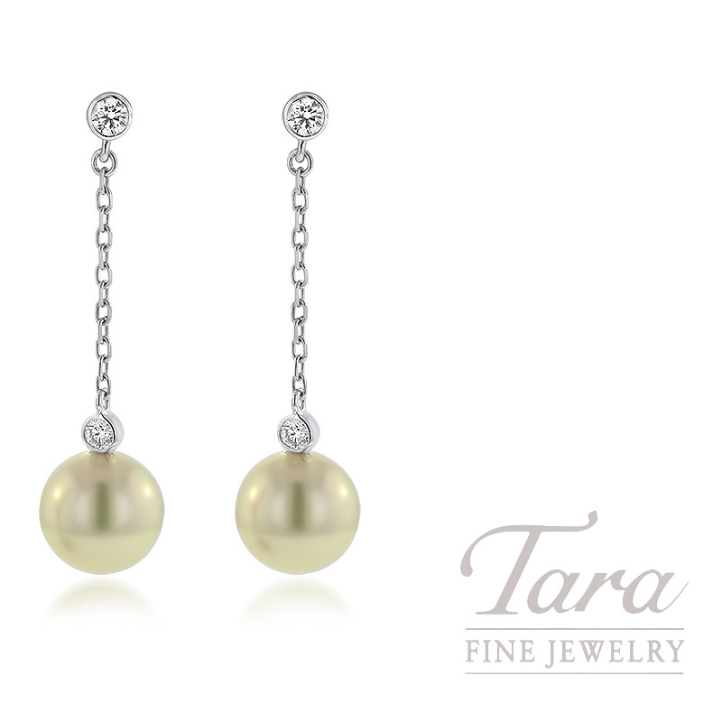 Mikimoto Pearl and Diamond Drop Earrings, 2 Akoya Pearls  8.5MM A+, 4 Round Diamonds 0.18TDW