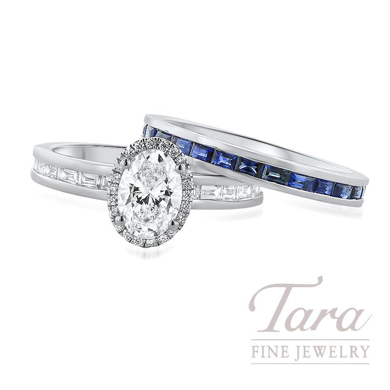 18K White Gold Channel Set Diamond Wedding Set, 18 Baguette Diamonds 0.48TDW and 22 Round Diamonds 0.07TDW, Oval Diamond 0.90CT/I-VVS2 (Center Stone Sold Separately)