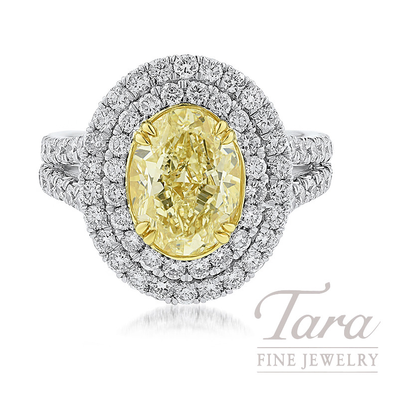 Platinum and 18k Yellow Gold Double Halo Oval-shape Fancy Yellow Diamond Ring, 3.01CT Oval-Shape Fancy Yellow Diamond, 1.72TW Round Diamonds