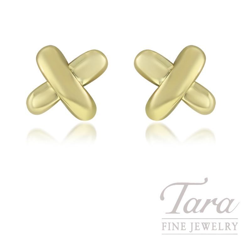 """18KY Tiffany & Co.  """"X"""" Style Earrings 2.8G"""