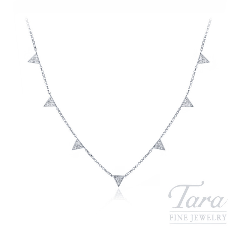 18K White Gold Pave Diamond Triangle Necklace, .15TDW