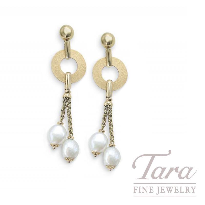 14k Yellow Gold Circle Pearl Earrings