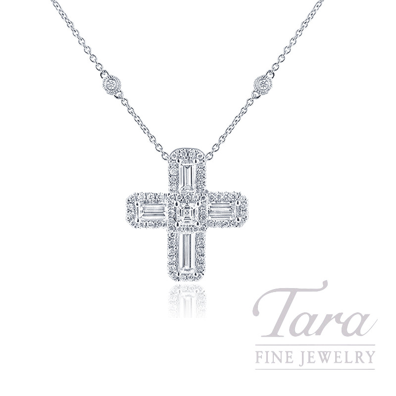"18k White Gold Diamond Cross Necklace, 16/17/18"" Chain, 5.9G, 1.70TDW"
