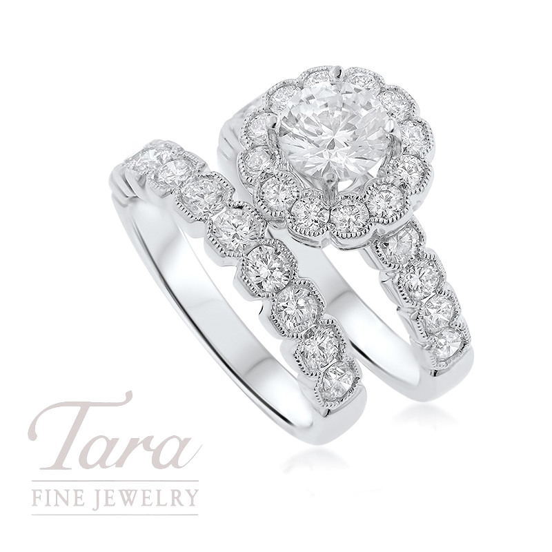 18K White Gold Diamond Halo Wedding Set, 1.71TDW