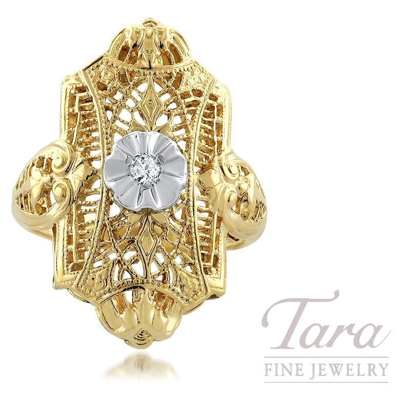 10k Yellow Gold Filigree Ring With Diamond 0 02ct Tara Fine Jewelry