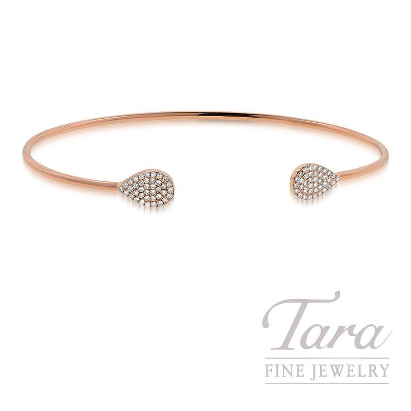 18k Rose Gold Diamond Bangle Bracelet, 4.1G, .21TDW