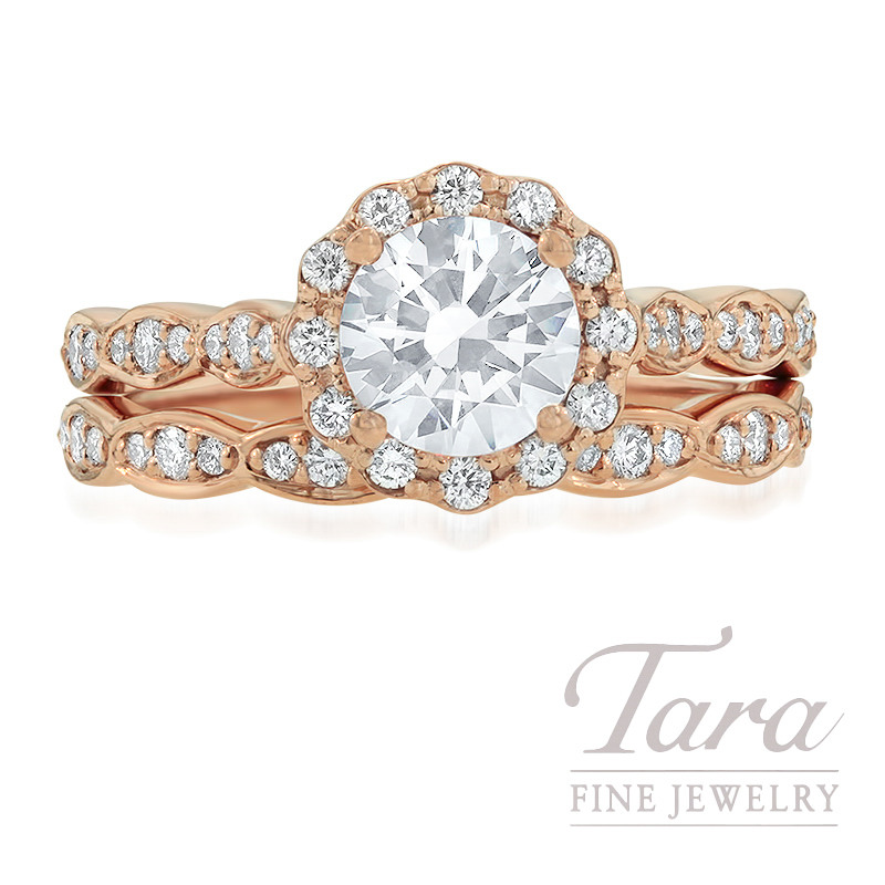 Ritani 18k Rose Gold Diamond Halo Wedding Set, .48TDW (Center Stone Sold Separately)