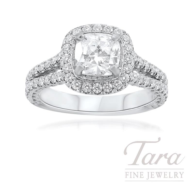 Jack Kelege Platinum Diamond Halo Engagement Ring, 8.5G, .76TDW