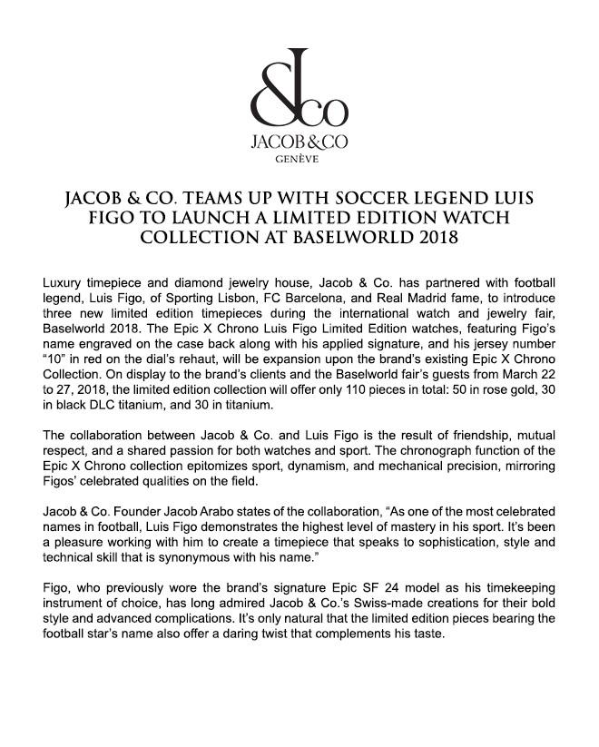 Jacob & Co. Epic X Chrono Luis Figo Limited Edition