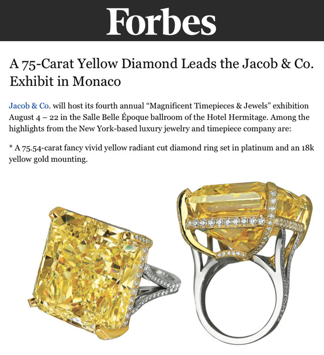 A 75-Carat Yellow Diamond Leads the Jacob & Co. Exhibit in Monaco