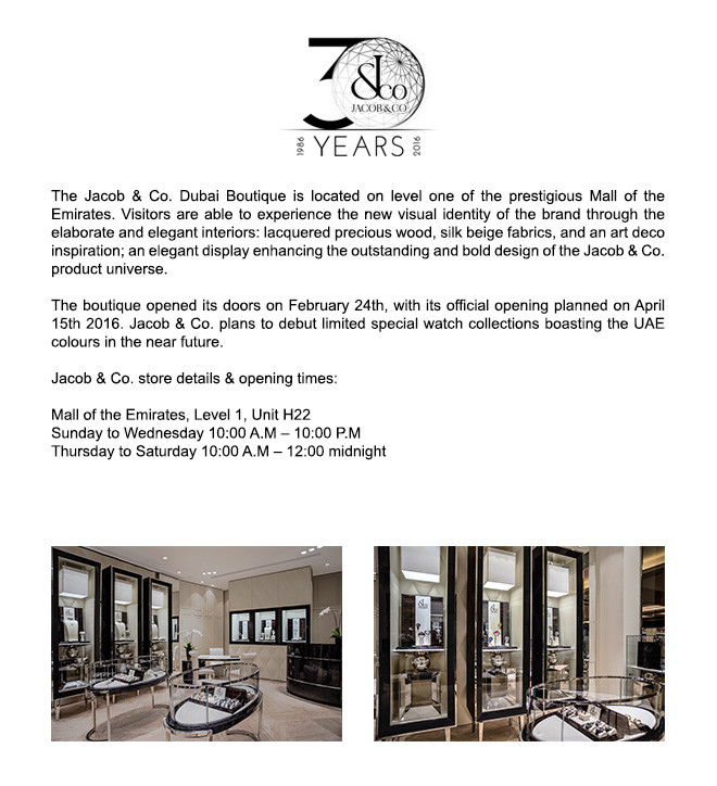 JACOB & CO. BRINGS NYC TO DUBAI