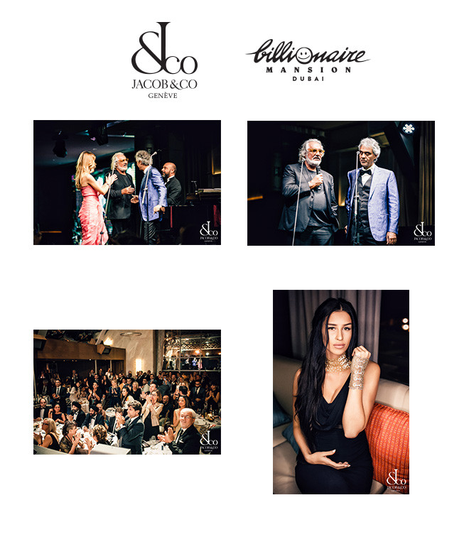 music from heaven maestro andrea bocelli live perform at billionaire mansion in patnership with jacob & co.