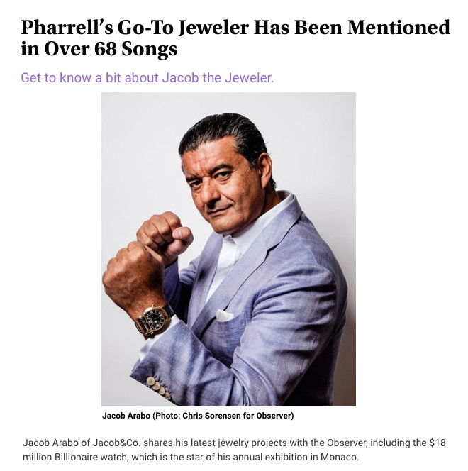 Pharrell?s Go-To Jeweler Has Been Mentioned in Over 68 Songs