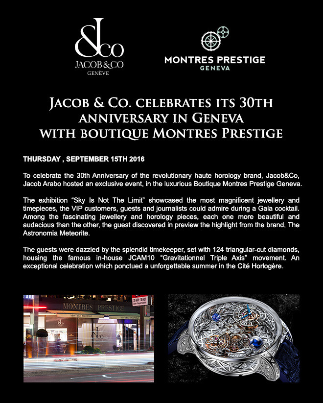 Jacob & Co. celebrates its 30th anniversary in Geneva with boutique Montres Prestige