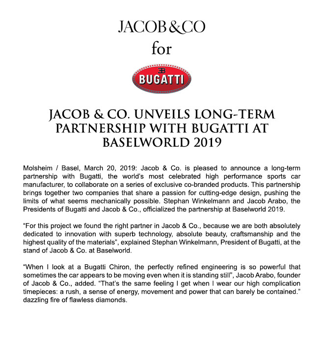 Jacob & Co. Unveils Long-Term Partnership With Bugatti