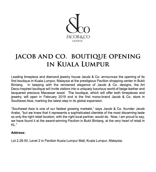 Jacob and Co. Boutique Opening in Kuala Lumpur