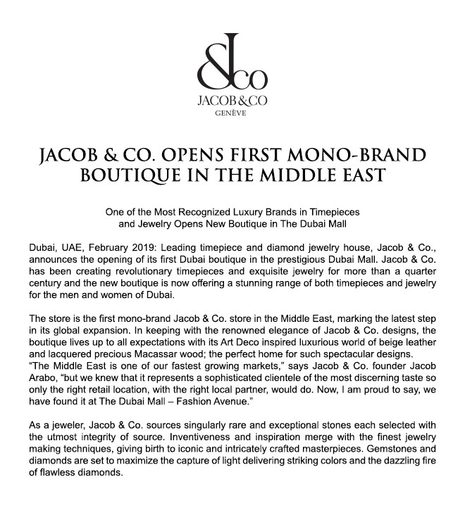 Jacob & Co. Opens First Mono-Brand Boutique In The Middle East
