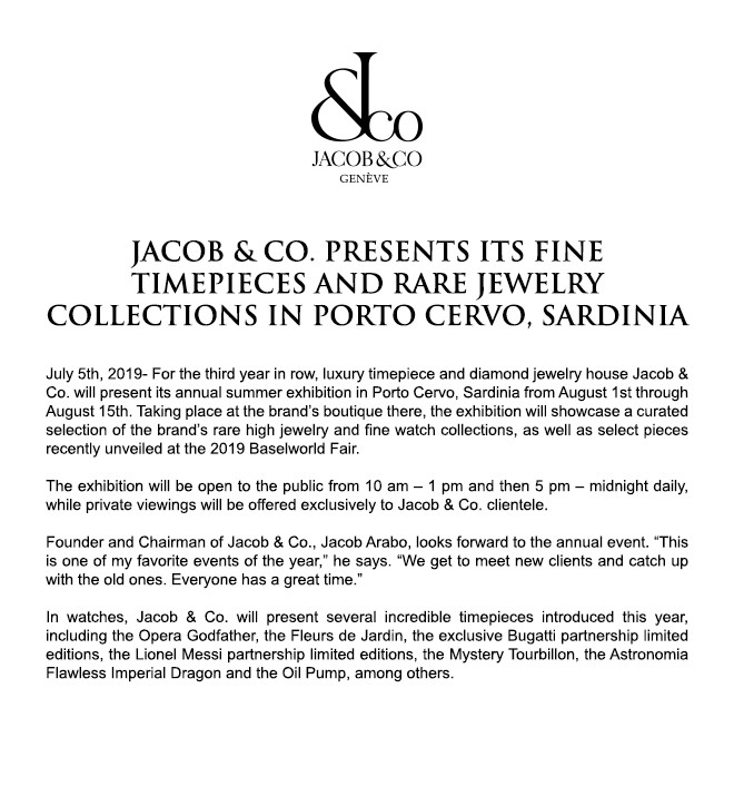 Jacob & Co Presents Its Fine Timepieces And Rare Jewelry